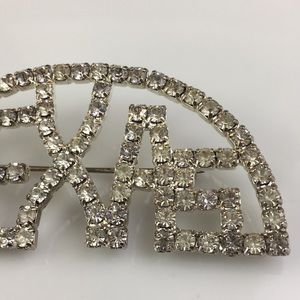 Silver Texas rhinestone brooch